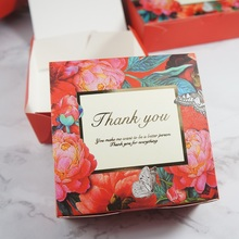 red gold 13.6x13.6x5cm 10pcs flower blooming in night Paper Box cookie Macaron candy Christmas Birthday Party Gifts Packaging