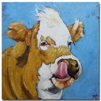 Moderne Abstracte Dier gedrukt Schilderen gele koe Olieverfschilderijen op Canvas Muur Foto 'S Home Decor Best Gift