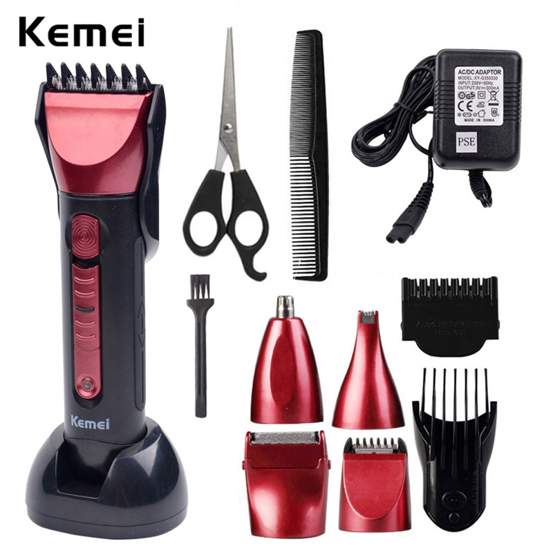 2017 Professional Hair Clipper KM-8058 5 heads Multifunctional Hair Trimmer Beard Razor Electric Shaver Haircut Machine Sets S22 220 240v 3in1 rechargeable electric shaver professional hair trimmer clipper cutter beard trimmer razor haircut machine for men