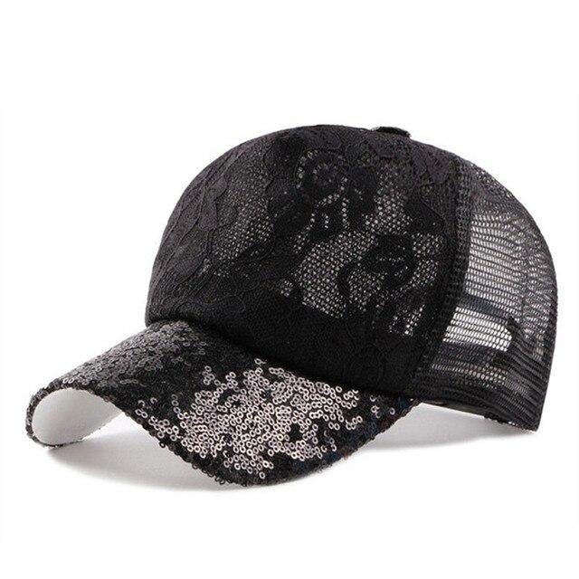 Women s Cap Summer Ventilation Baseball Caps Laces Sequins Decoration  Adjustable Head Size Snapback Hip Hop Mesh Cap Beach Hats c0aaa91d7eaa