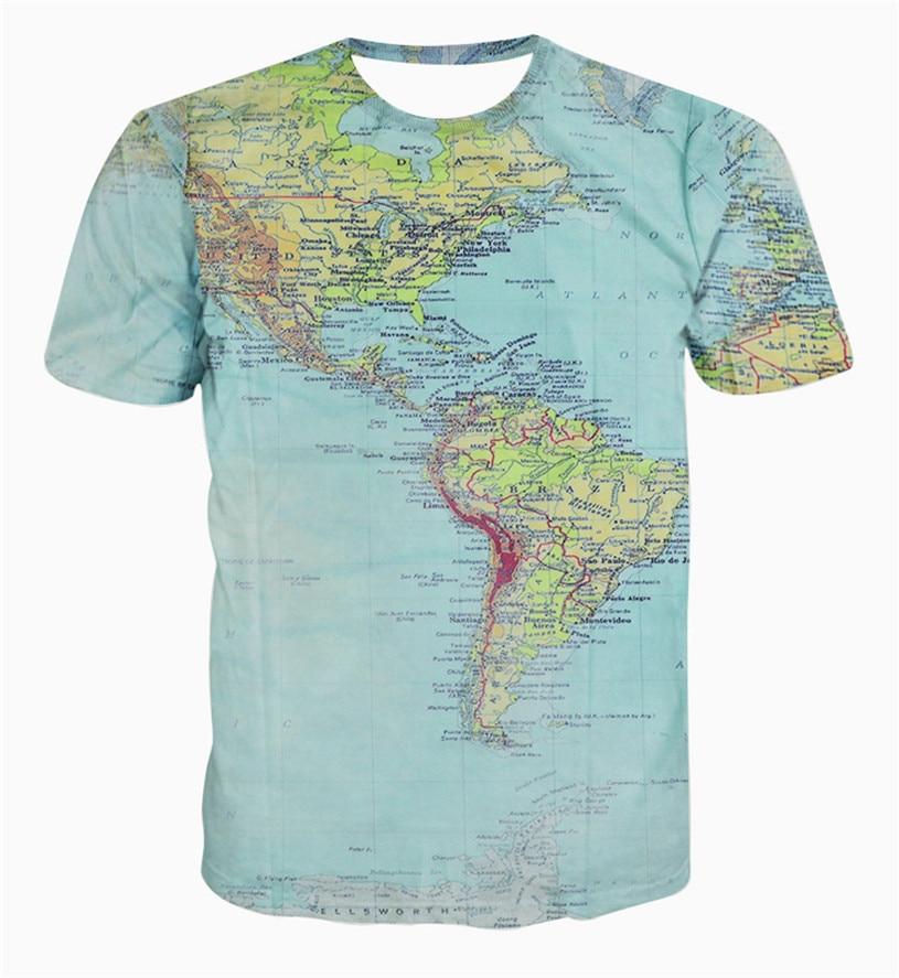New Fashion The World Map T Shirt Printing 3d T Shirt Harajuku