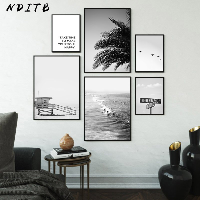 Scandinavian Poster Black White Nordic Style Wall Art Canvas Print Sea Beach Painting Landscape Tropical Decoration Picture
