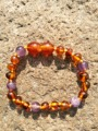Natural Amethyst Cognac Baby Bracelet Ambar Mixed with Amethyst Beads Unisex Women Adults