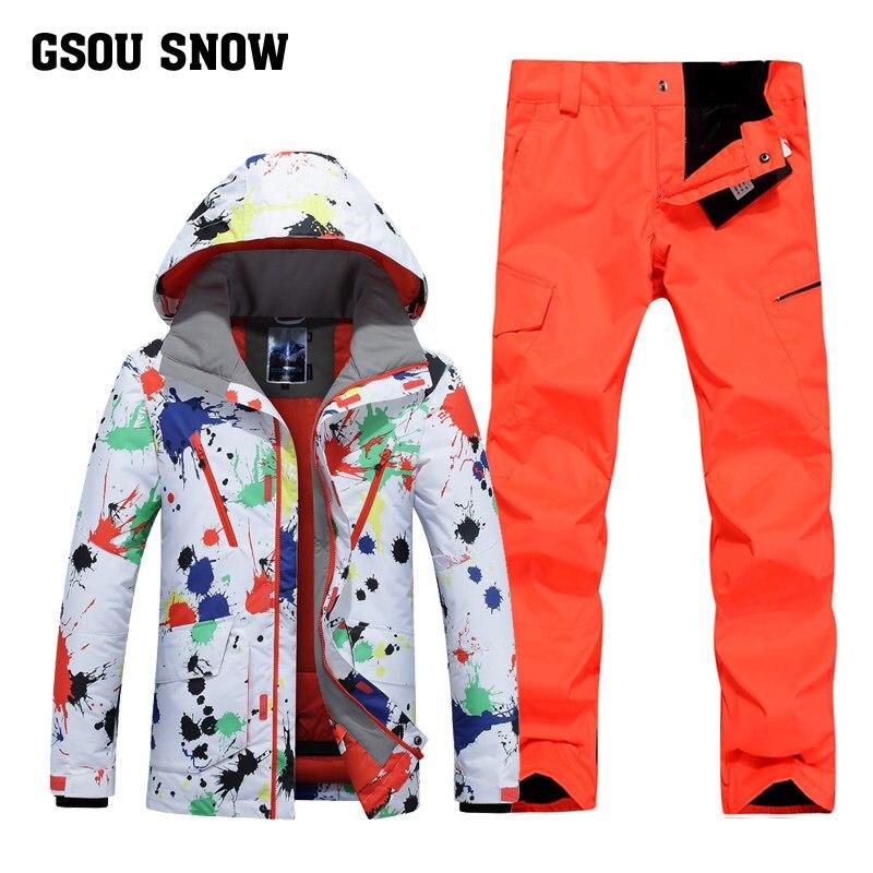 a9a2baa9d07ab Gsou Snow/лыжи костюм мужской зимний открытый ветрозащитный Теплый Лыжный  костюм Водонепроницаемая быстросохнущая лыжная куртка