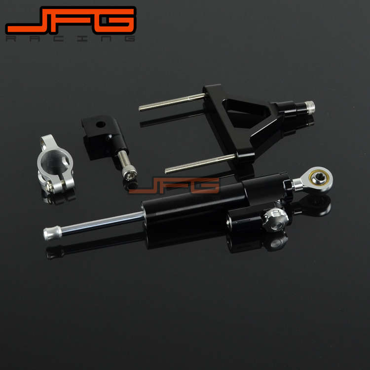 CNC Steering Damper Stabilizer Linear Reversed Safety Control & Adapter Bracket For KAWASAKI ZX6R ZX-6R 2007 2008 07 08 cnc steering damper stabilizer linear reversed safety control & adapter bracket for honda cb400 cb 400 vtec 1999 2000 2001 2012