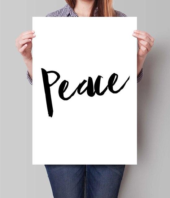 Minimalistische Zwart Wit Vrede Art Scandinavische Poster Typografische Art  Idee Slaapkamer Art Home Decor Print