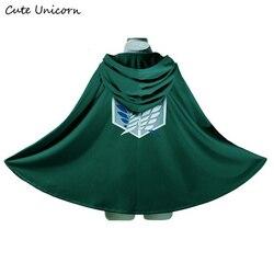 بيع هجوم على تيتان عباءة Shingeki لا Kyojin الكشافة الفيلق تأثيري زي أنيمي تأثيري الأخضر الرأس رجل الملابس