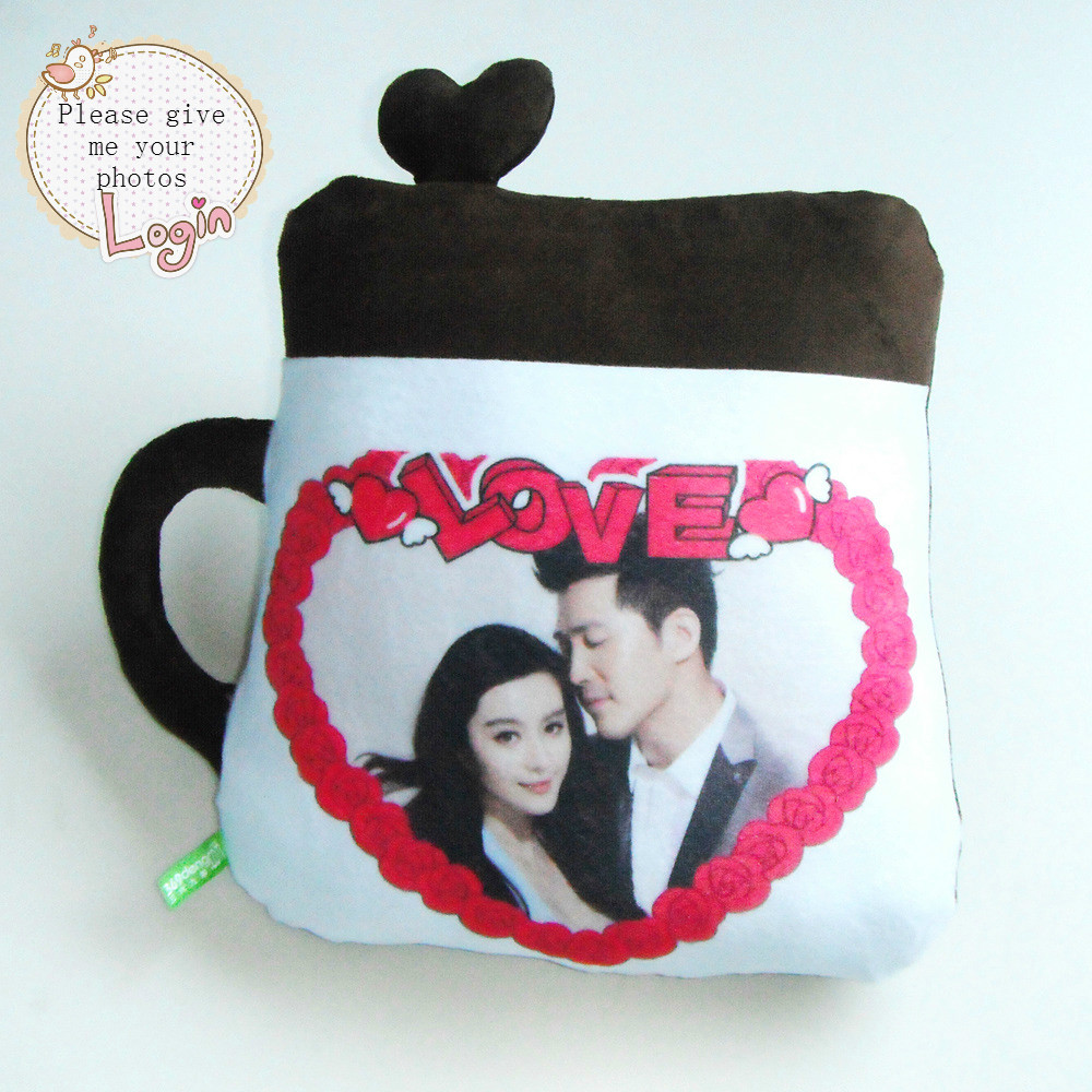 Photo pillow customization Cushion for leaning on of cartoon cup custom diy pillow order photos custom birthday gift Christmas