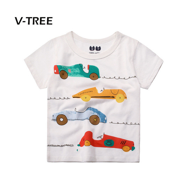 V-TREE Summer Boys T Shirt Cotton Car Print Baby Clothes Kids Fashion Tops  Tees