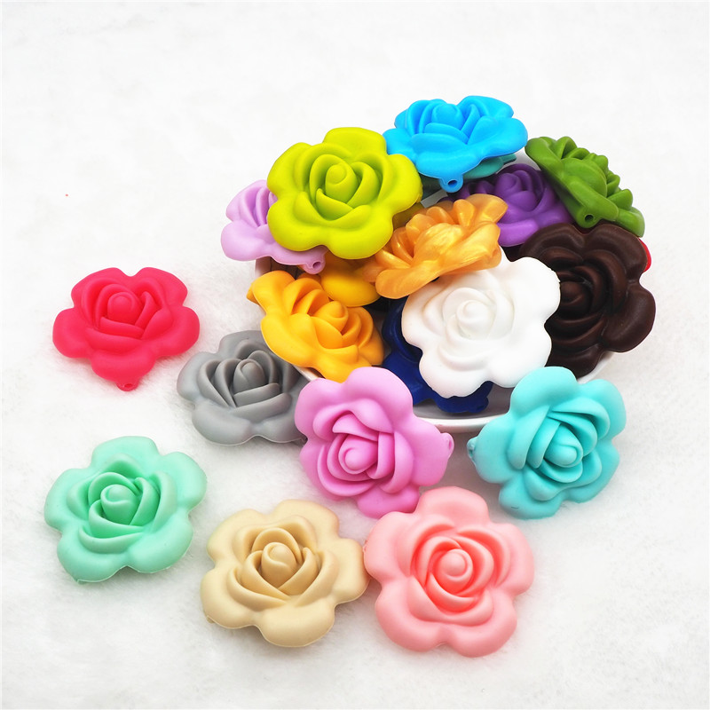 Chenkai 10pcs Silicone Rose Flower Teether Beads DIY Handmade Baby Pacifier Dummy Chewing Jewelry Pendant Sensory Toy