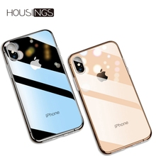Anti-shock Transparent Phone Case For iPhone 6s 8 7 6 Plus Soft TPU Cover For iPhone X XS max XR Soft Silicone Ultra Slim case 7 tpu soft case flash rhinestone edge phone protection case silicone protective cover for iphone 7 transparent gold