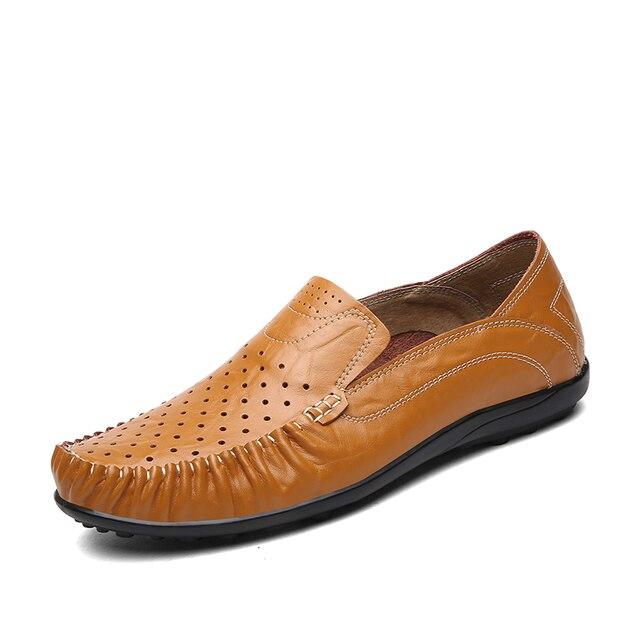 Men's Soft Leather Beige Summer Loafers