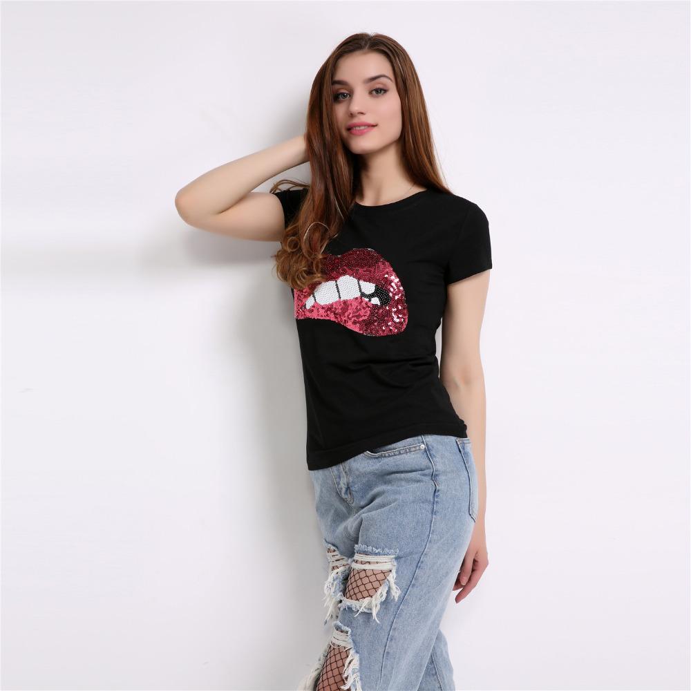 HTB1nH74RXXXXXcoXVXXq6xXFXXXN - New Fashion for women summer short sleeve sequin red lips tshirt