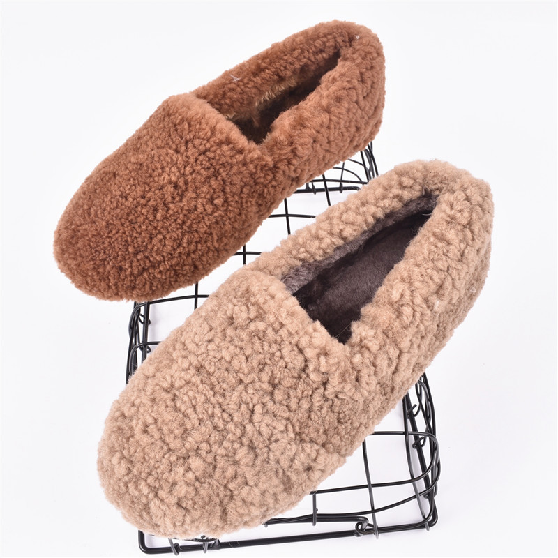 Ins Women Shoes Real Wool Slip on Woman Loafers Solid Color Lazy People Shoes Fashion Fur