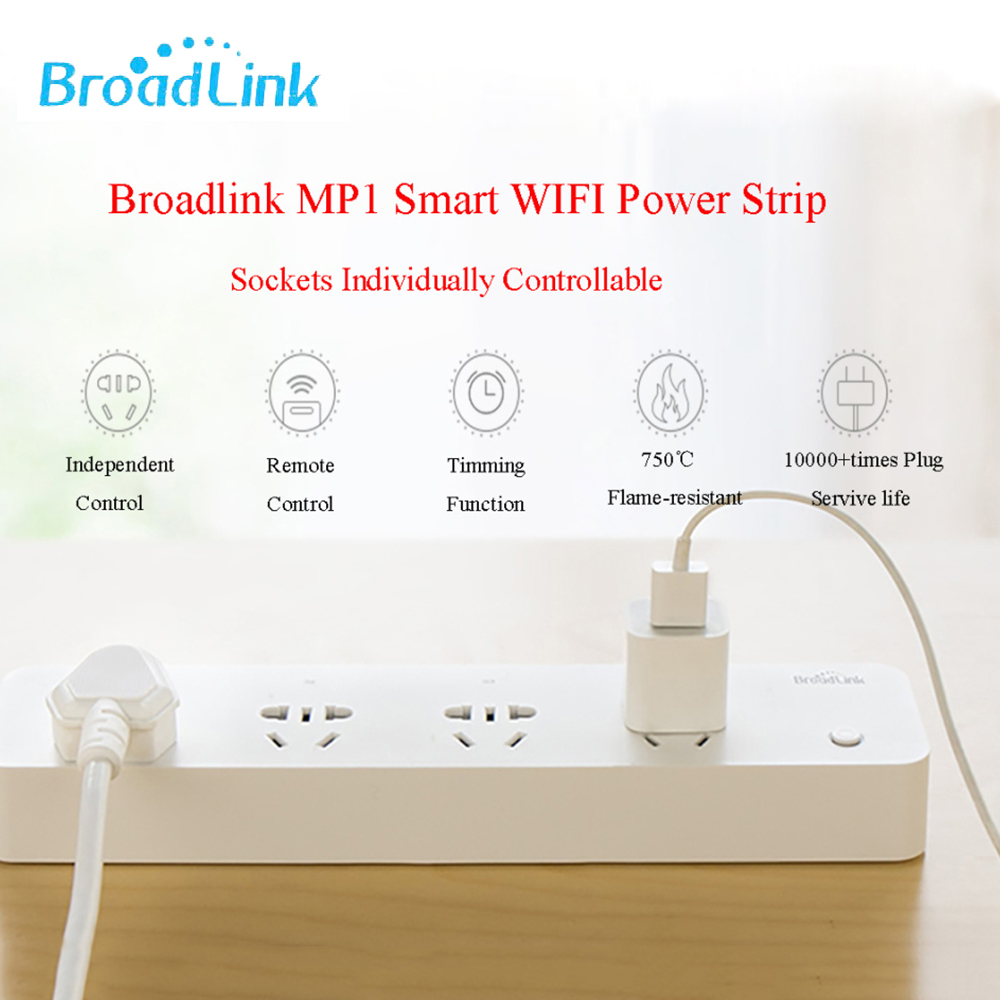 Broadlink Original MP1 WiFi Switch 4 Outlet Plug Work for Alexa Google Home 250V 10A 3G 4G App Wireless Remote Control|Home Automation Modules| |  - title=