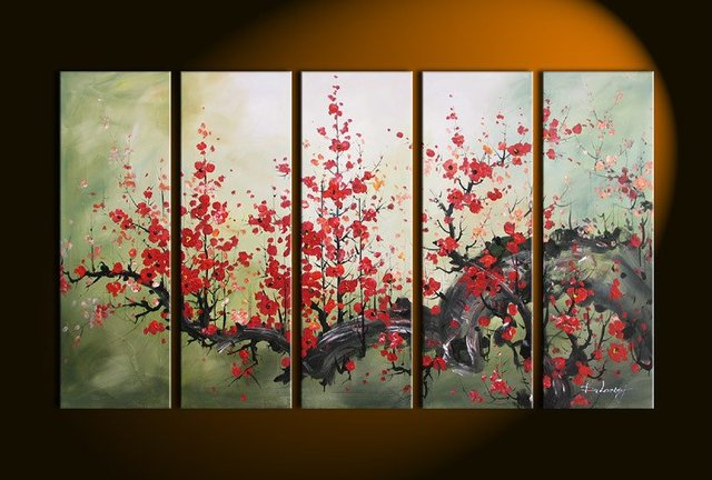 hand painted oil wall art paint Bright red flower decoration ...