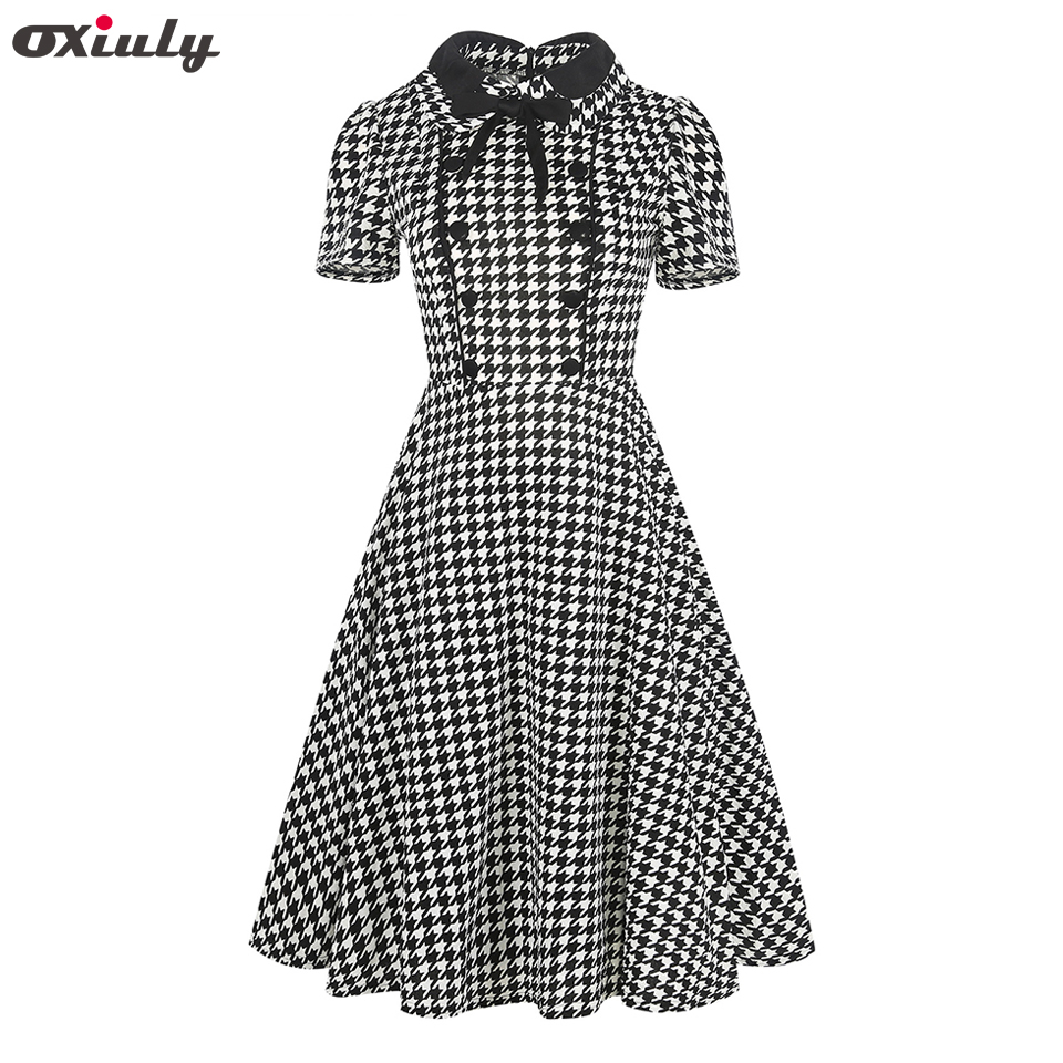 Oxiuly Naiste riided 2018 Summer Gingham Polka Dot Houndstooth Swing kleit vibu Pin kuni Vintage 60s 50s Rockabilly A-line kleidid
