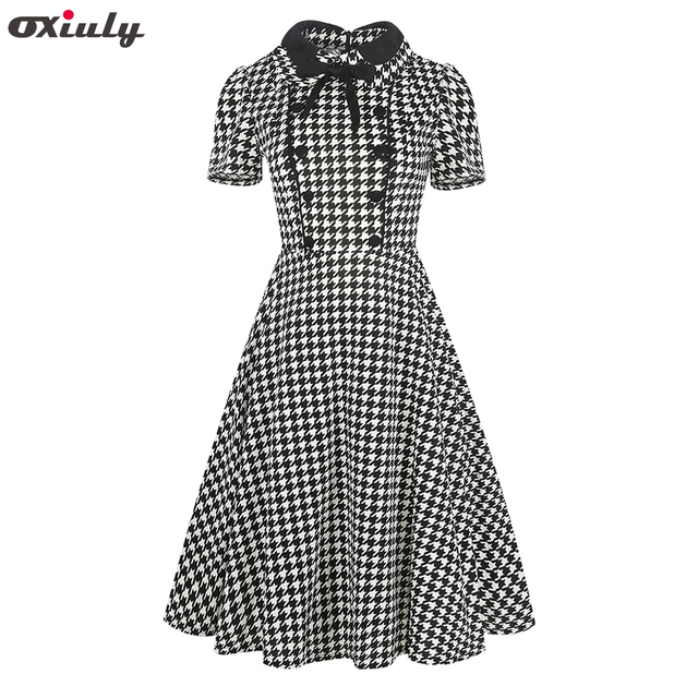 Oxiuly Women Clothing 2018 Summer Gingham Polka Dot Houndstooth Swing Gown  Bow Pin up Vintage 60s 925d57f9a2d6