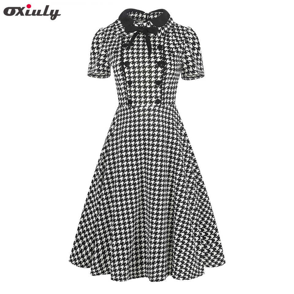 4e1952b66906 Oxiuly Women Clothing 2018 Summer Gingham Polka Dot Houndstooth Swing Gown  Bow Pin up Vintage 60s
