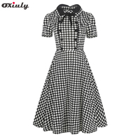 Oxiuly Women Clothing 2018 Summer Gingham Polka Dot Houndstooth Swing Gown Bow Pin up Vintage 60s 50s Rockabilly A line Dresses