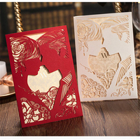 50Pcs/lot Red Bride&Groom Personalized Laser Cut Wedding Invitations China Made Convite Card Casamento Decoration Mariage
