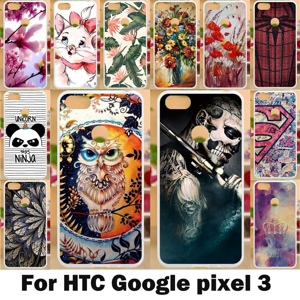 Painted Case For Google Pixel 3 Case Silicone Soft TPU Cases For HTC Google Pixel3 Cover Coque Wildflowers Animal Bags