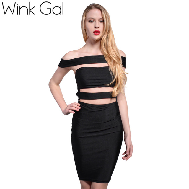 Wink Gal Black Bodycon Bandage Dress Ladies Dresses Off Shoulder Hollow Out  Robe Womens Sexy Party Night Club Dress 3093