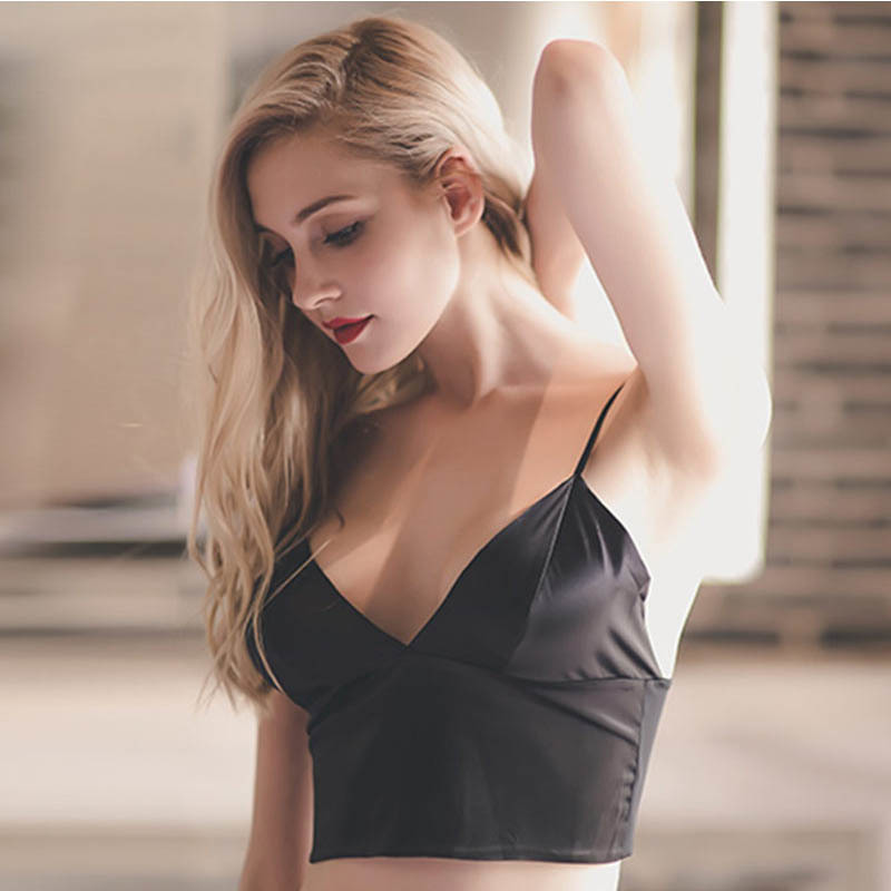 Women's Clothing ... Tops & Tees ... 32822511253 ... 3 ...  Satin Crop Tops Women 2019 Wireless Bralette Crochet Top Female Spaghetti Strap T-shirt Cropped With Chest Padded Camisole ...