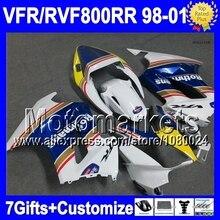 7gifts For HONDA VFR800  Rothmans Blue interceptor 98 99 00 01  62M VFR800RR VFR 800 RR 1998 1999 2000 2001 blue white  Fairing