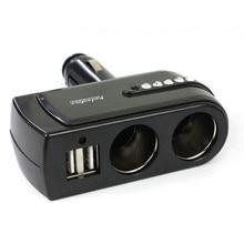 2 USB Charger Supply + Double Sockets Car Cigarette Lighter Extender Splitter Car-styling for cell phone