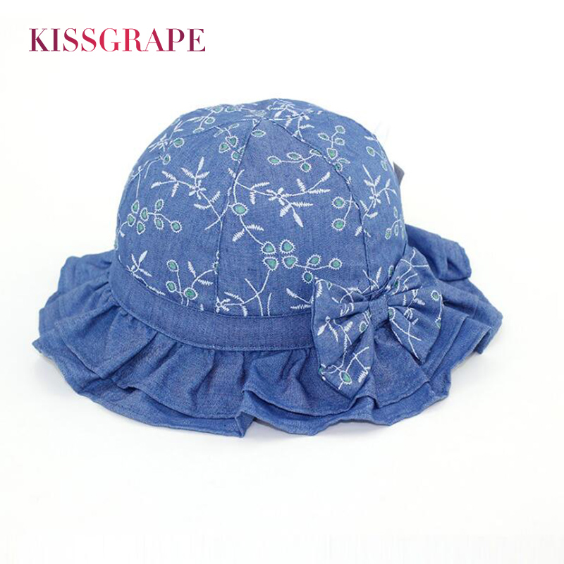2018 Spring Baby Girls Denim Cotton Sun Hats Sunscreen with Brim Kids Breathable Bucket  ...