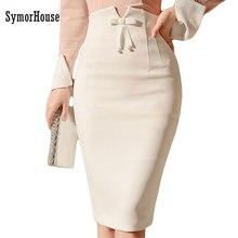 Elegant Pencil Skirt Slim Mid White Skirt FD01
