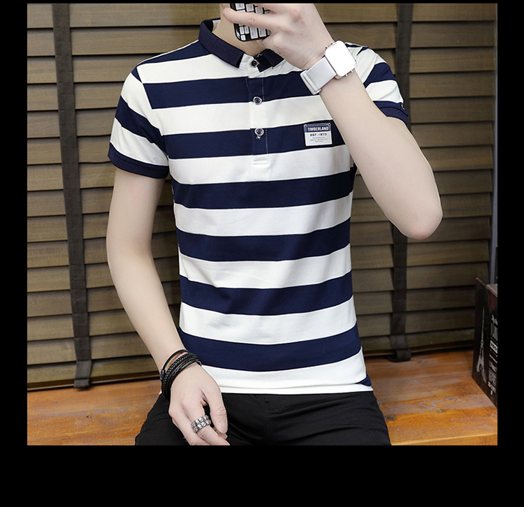 New summer high quality striped short sleeve polo shirt men brand clothing fashion Korean casual slim fit male camisa 9018Z 19