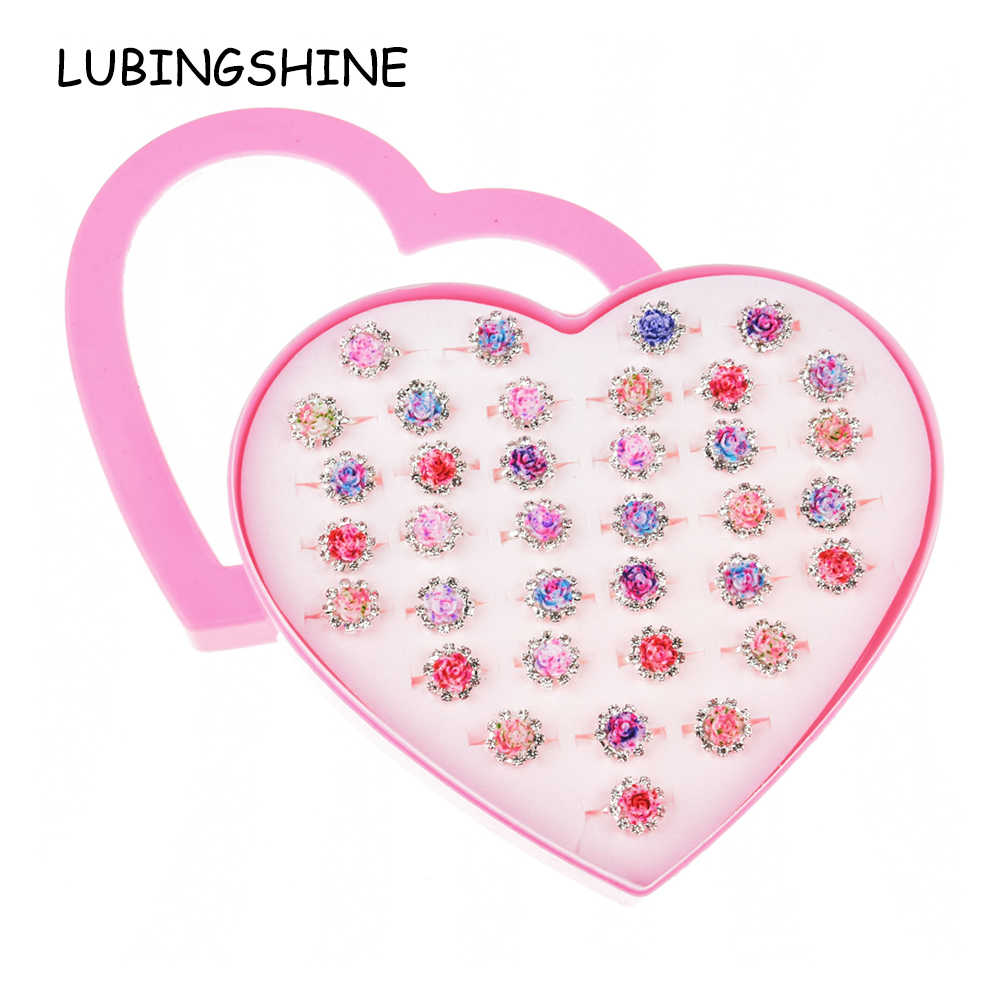 36 PCS/set Adjustable Kids Resin Flower Rings Jewelry Heart Crystal Open Finger Ring For Children Girls Birthday Party Gift
