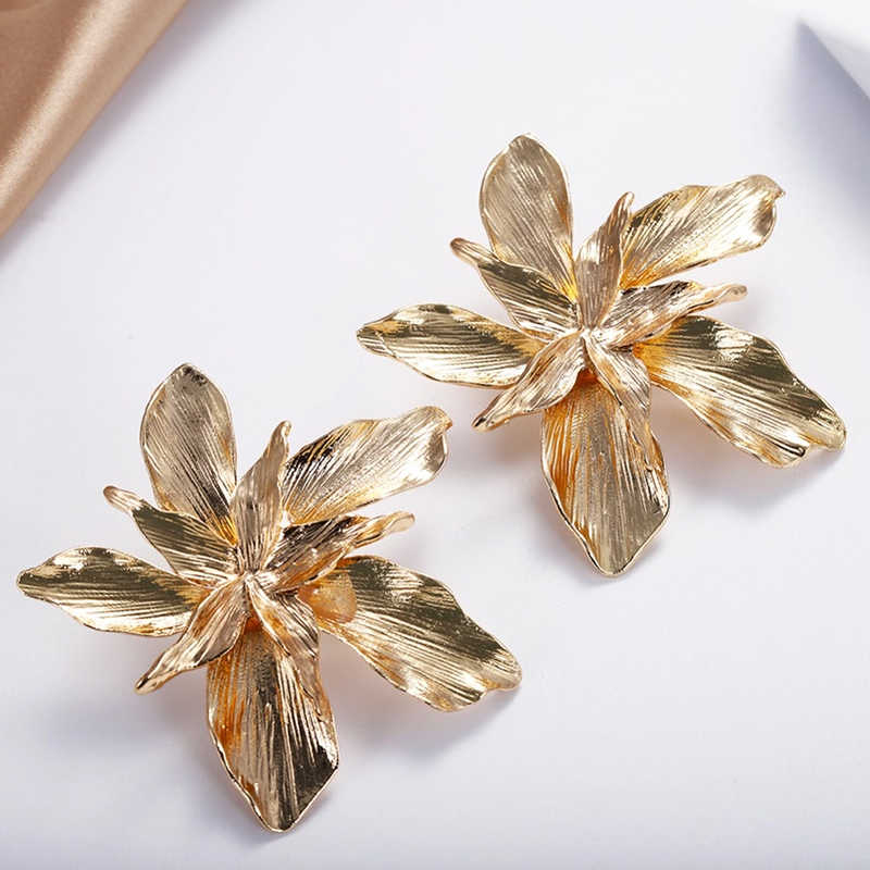 AENSOA Metal Gold Flower ZA Big Earrings For Women Girl 2019 Fashion Floral Statement Earrings Wedding Party Gifts Jewelry