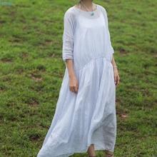 LinenAll women's summer Pale purple sheer 100% ramie oversized maxi loose dress,O-neck three-quarter sleeve straight long dress