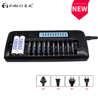 12 slots PALO intelligent LCD battery Charger for 18650 26650 21700 18350 AA AAA 3.7V//1.2V lithium NICD NiMH battery &discharge