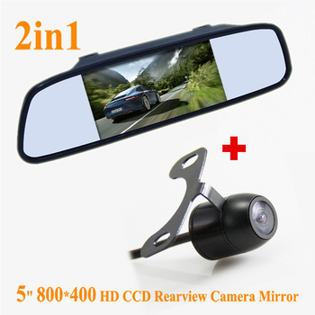 5 inch HD led Mirror Monitor 2ch Video Input 800*480 For 170 Angle Night Vision Car Rear View Camera Reverse Backup Color Camera
