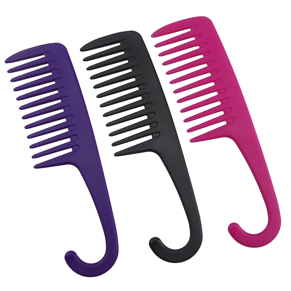 Large Wide Tooth Combs with Curved Hook Brushes Detangling Big Teeth Hairdressing Reduce Hair Loss Comb Salon Styling Tools