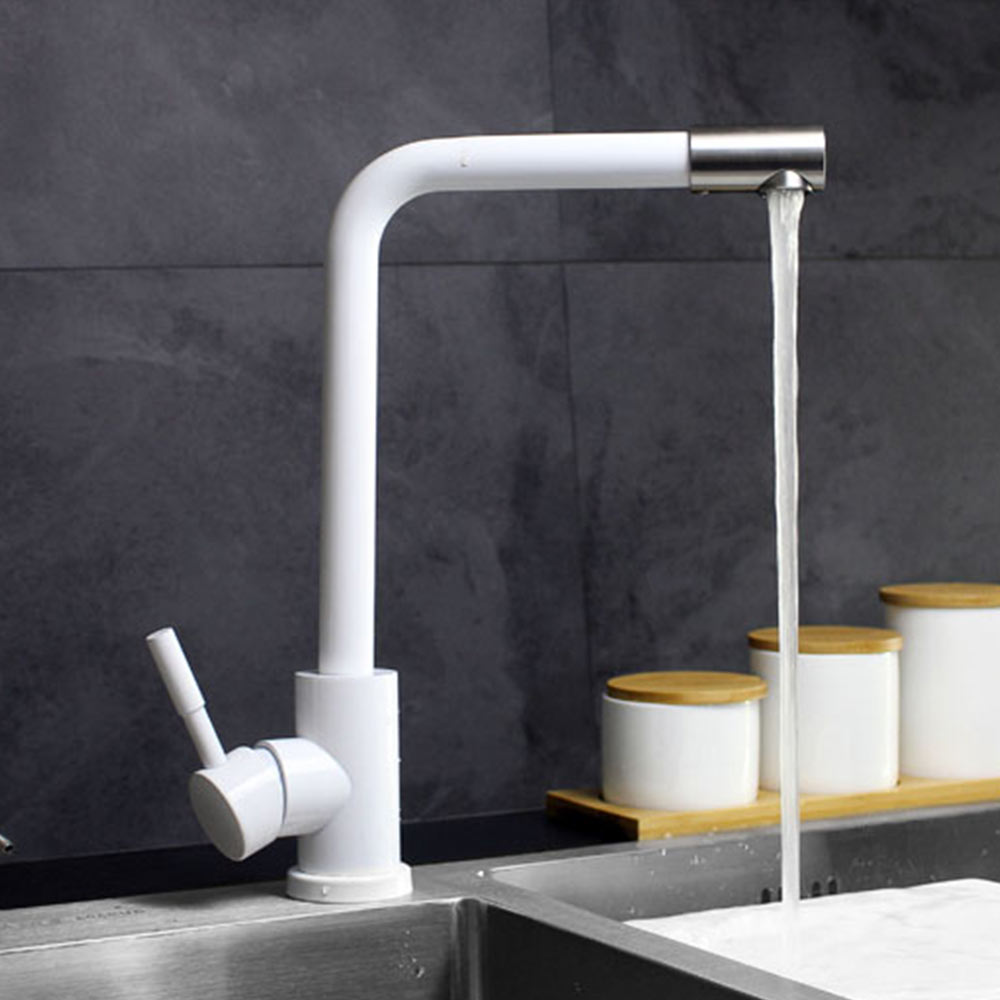 SUS 304 stainless steel Kitchen Rotating Faucets White paint Spool Mixer Water Faucet tap Hot And Cold Double Control Faucets цена