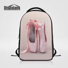 Dispalang Women Daily Backpacks Girls Fashion School Mochila Escolar Pink Ballet Shoes Printing Laptop Bag Female Shoulder Bags