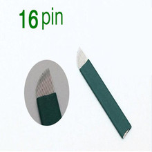 50PCS Green 16 Pin Permanent Makeup Eyebrow Tatoo Blade Microblading Needles For 3D Embroidery Manual Tattoo Pen Machine