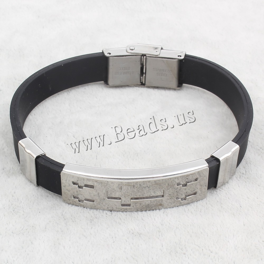 2016 Top-sale Womens Mens Cross Stainless Steel Silicone Buckle Bracelets Bangle Wristband