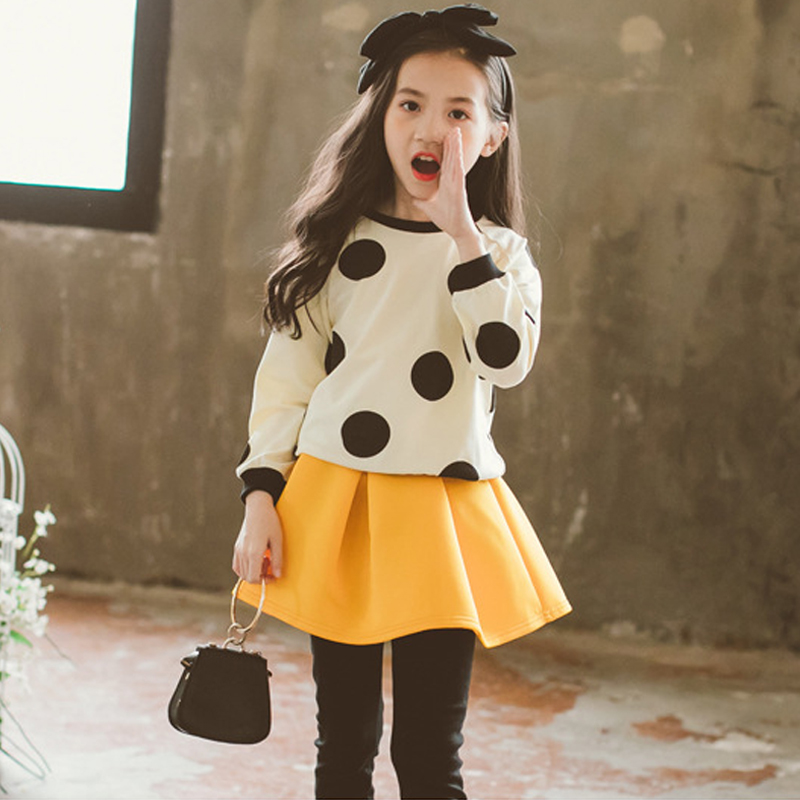 kids girl suits 2018 autumn girls sets clothing 2pcs girls set long sleeve big girl suit size 3 4 5 6 7 8 9 10 11 12 13 14 years shirt dress big girl autumn suit autumn clothing girls clothing set 12 years 14 10 8 long sleeve dress mesh skirt 2 piece suit