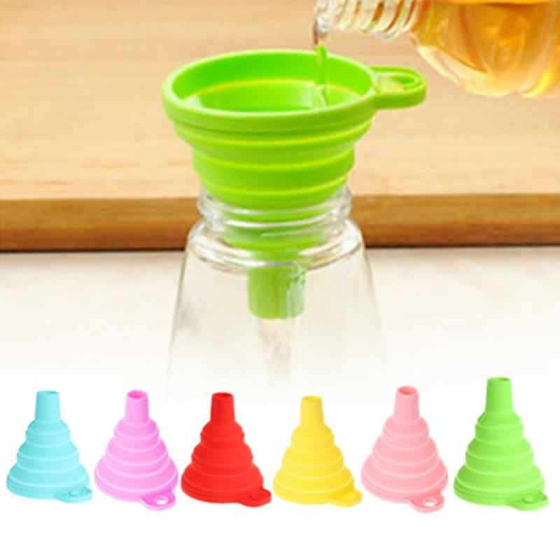 1 Pcs Silicone Foldable Liquid Funnel Folding Portable Oil Honey Funnels Wine Collapsible Style Hopper Kitchen Mini Tool