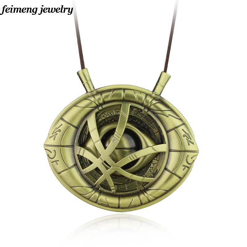 Big Doctor Strange Necklace Dr.Strange Steve Cosplay Agamotto eye Pendent Necklace Genuine Leather Jewelry Christmas Gift8*8.4cm high quantity dr doctor strange bronze pendant eye of agamotto necklace cosplay props marvel dc movie