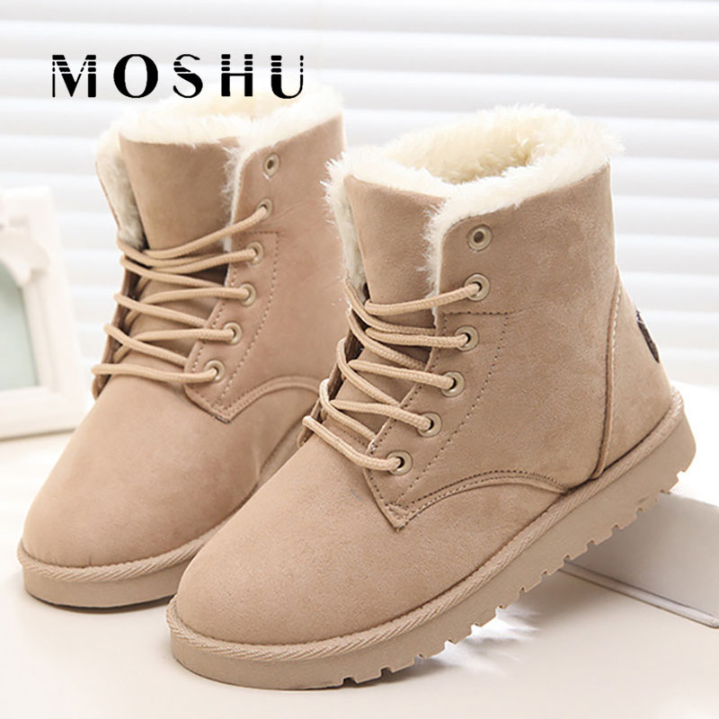 Classic Women Winter Boots Suede Ankle Snow Boots Female Warm Fur Plush Insole High Quality Botas Mujer Lace-Up suede
