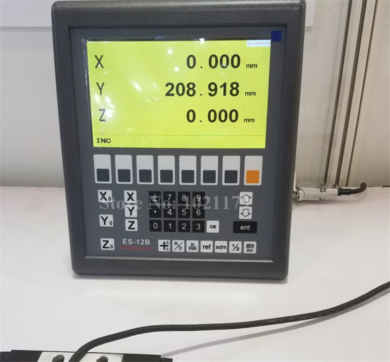 Nuovo mulino tornio ES-12B Easson 3 assi lettura digitale 3 assi sistema DRO e 3 pezzi GS10 scala lineare digitale per tornio fresatura