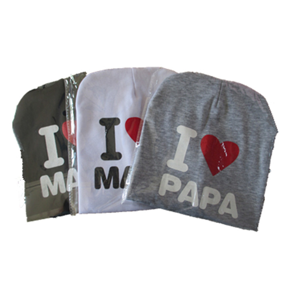 Premium 1 PC Bayi Bayi Cotton Blend Beanie Newborn Hat I LOVE MAMA / PAPA Cap