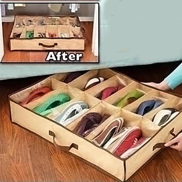 12 Cases Shoes Storage Organizer Holder Bag Box Under Bed Closet Brown